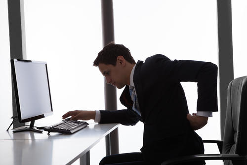 Experiencing back pain while sitting in office chair