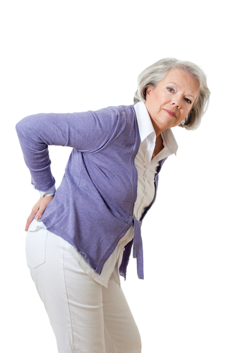 Elderly woman with bad back