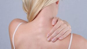 Woman with whiplash injury